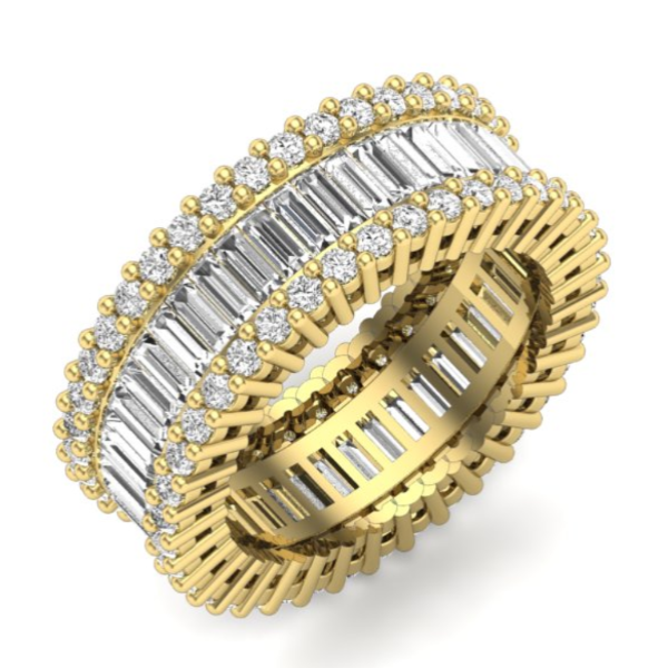 4 CT. T.W. Emerald-Cut Diamond Eternity Band in 14K Yellow Gold - LA DIAMOND