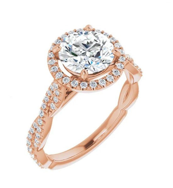 4.02 CT. T.W. Round-Cut Diamond Engagement Ring in 14K Rose Gold - LA DIAMOND