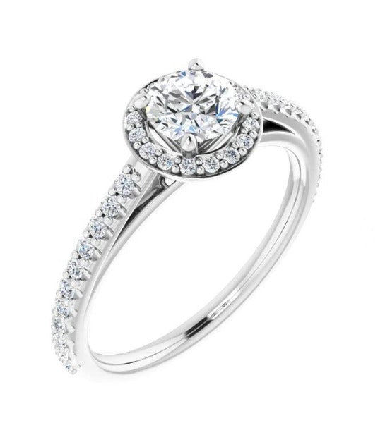 3/4 CT. T.W. Round-Cut Diamond Halo-Style Engagement Ring in 14K White Gold - LA DIAMOND