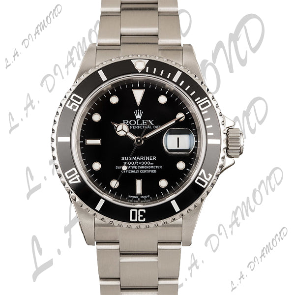 PRE-OWNED STAINLESS STEEL SUBMARINER ROLEX 16610 BLACK - LA DIAMOND