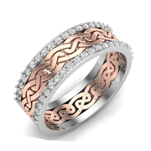 1/8 CT. T.W. Diamond Twist Vintage-Style Band in 14K Rose and White Gold - LA DIAMOND