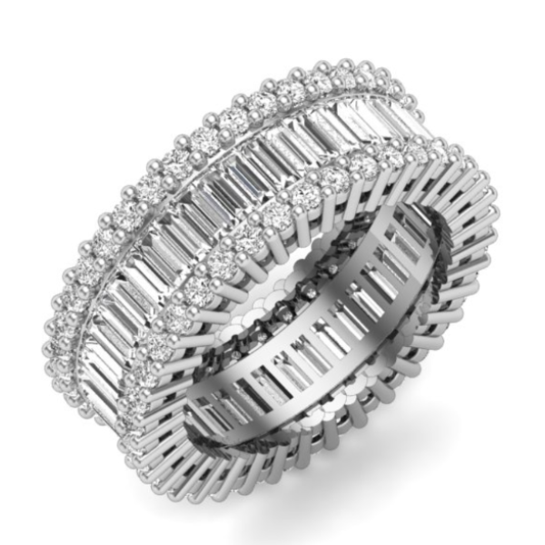 4 CT. T.W. Emerald-Cut Diamond Eternity Band in 14K White Gold