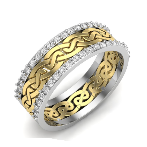 1/8 CT. T.W. Diamond Twist Vintage-Style Band in 14K Yellow and White Gold - LA DIAMOND