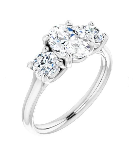 1.87 CT. T.W. Round-Cut Diamond Three-Stone Engagement Ring in 14K White Gold - LA DIAMOND