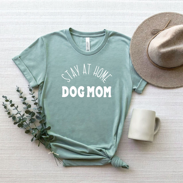 Stay At Home Dog Mom Dusty Blue T-Shirt