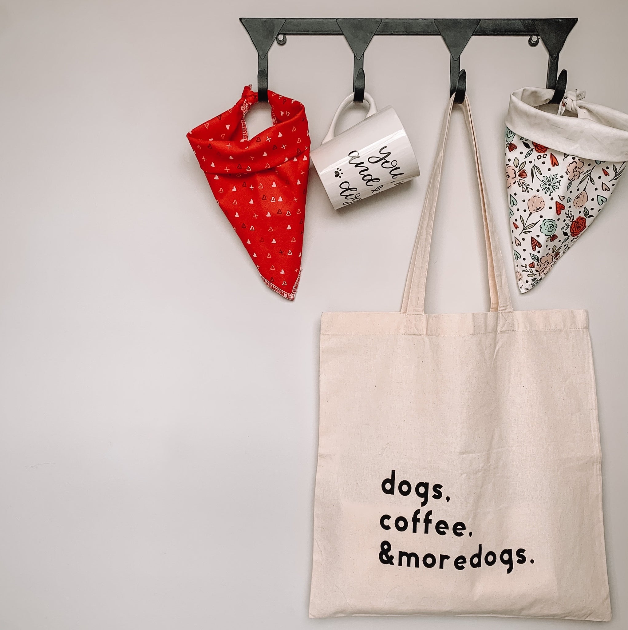 """dogs, coffee, & more dogs"" Tote Bag"