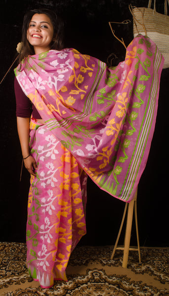 Exclusive full pink jamdani saree