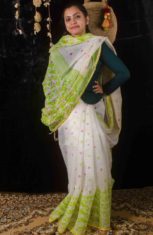 Cotton print with illusion of jamdani work saree