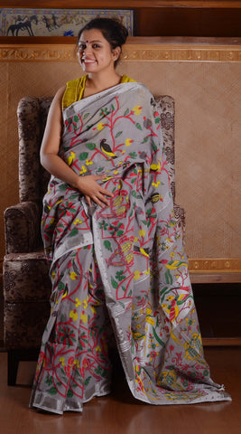 Linen grey birdy pompom digital print saree