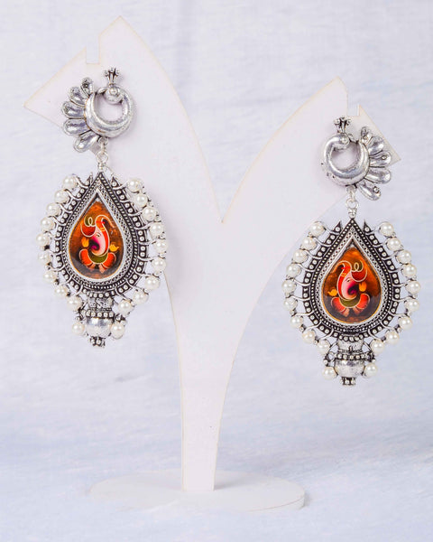 Peacock earings with ganapati