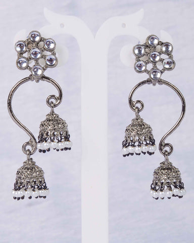 Flower motif metal jhumki