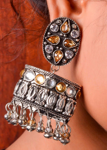 Layered afgani mizoya silver earings