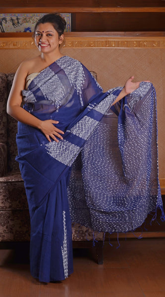 Blue cotton saree with white thread handwork