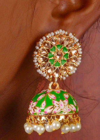Green flower motif meenakari work jhumka