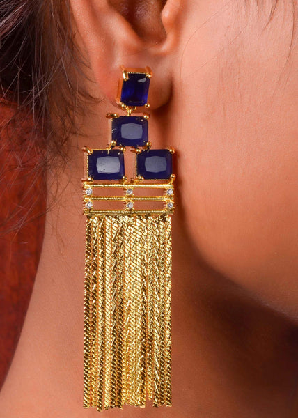 Gold and deep sea blue earings