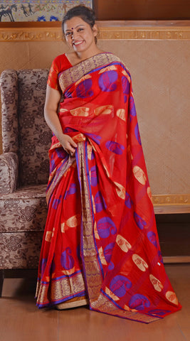 Red n blue soft tant saree