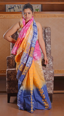 Shades of pastels half jamdani saree