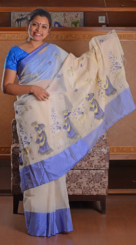 Blue and white golden threadwork handloom saree