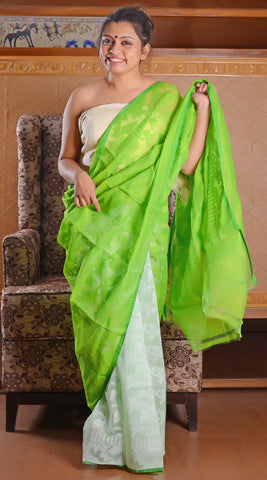 Parrot green and white muslin jamdani saree