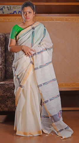 White katki with ikkat work saree