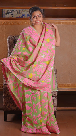 Base of parrot green with rani pink work full jamdani saree