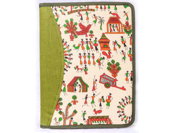 Parrot green tribal print document holder