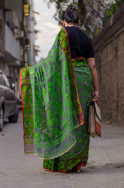 Green motifs exclusive jamdani saree