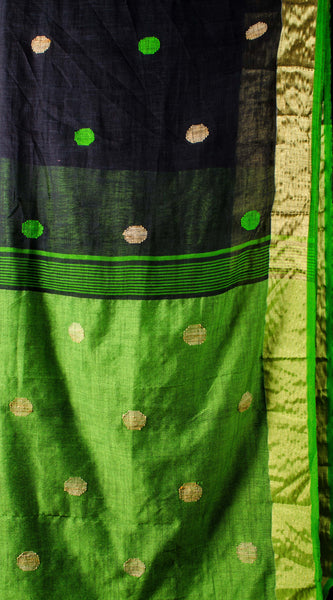 Linen black threadwork saree