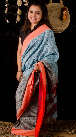 Linen grey digital print saree