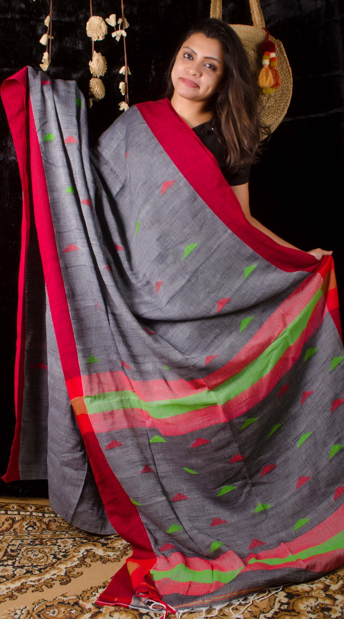 Linen grey threadwork saree