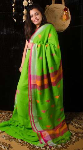 Linen green threadwork saree