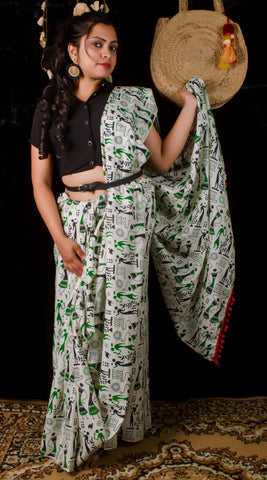 White cotton with block printing saree
