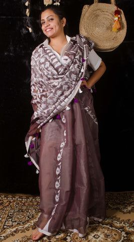 Exclusive brown half jamdani saree