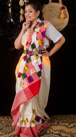 Khadi cream applique saree