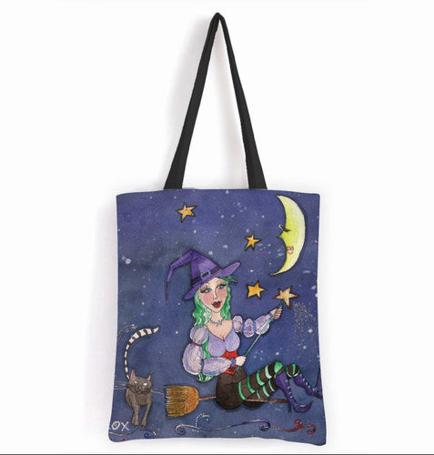 Witch & Kitty - 15x17 Tote Bag