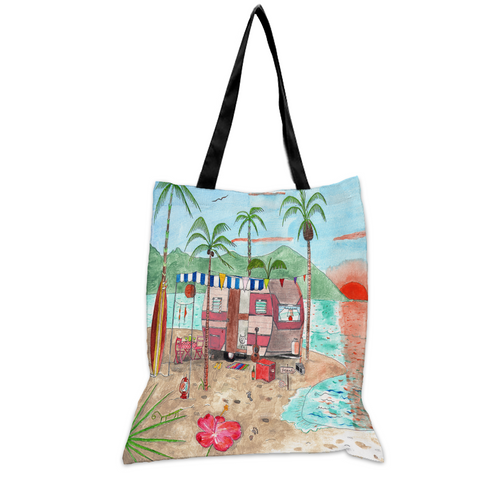 Pink Paradise Beach - 15x17 Tote Bag