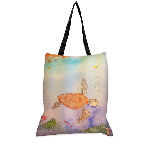 Sea Turtle Swim - 15x17 Tote Bag