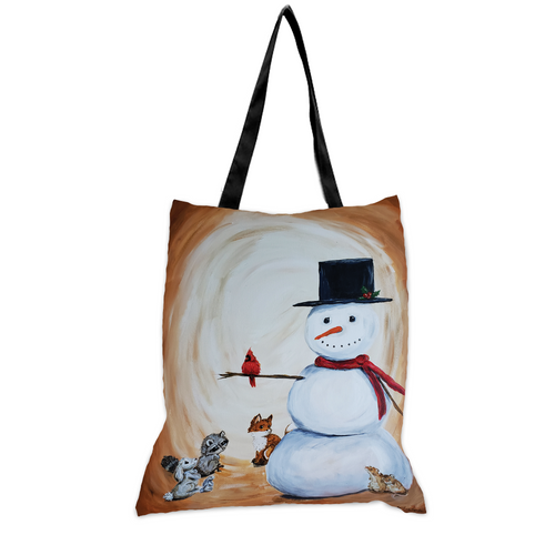 Snowman and Critters - 15x17 Tote Bag