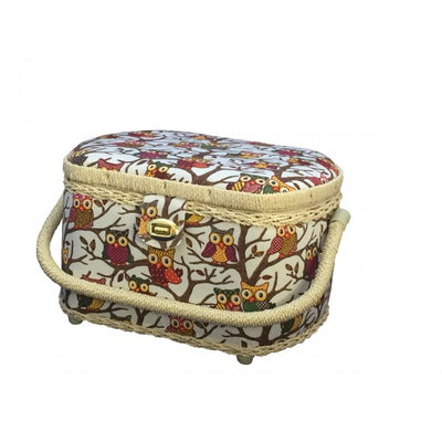 Owl-patterned sewing basket with 41-pc sewing kit FS-096