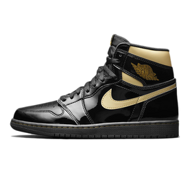 Air Jordan 1 High Patent Black Metallic Gold