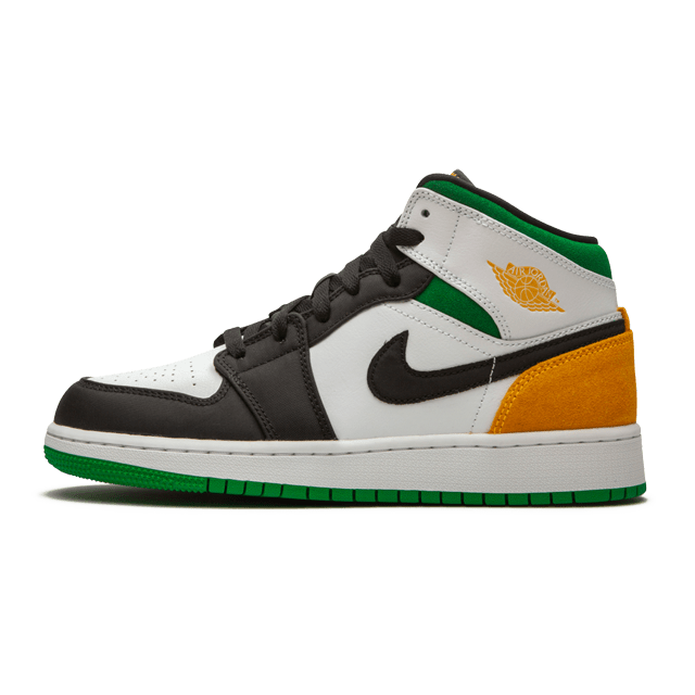 Air Jordan 1 Mid SE White Laser Orange Lucky Green (GS)