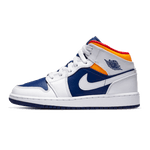 Air Jordan 1 Mid White Laser Orange Deep Royal Blue (GS)