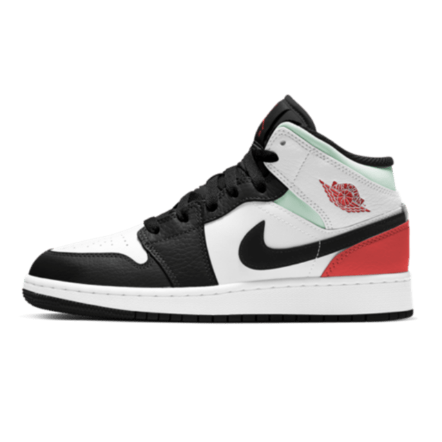 Air Jordan 1 Mid SE White Black Red Spruce (GS)