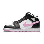 Air Jordan 1 Mid White Black Light Artic Pink (GS)