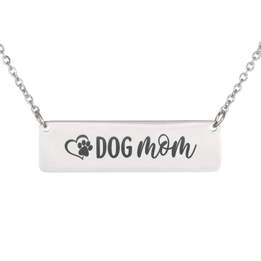 Dog Mom Horizontal Bar Necklace