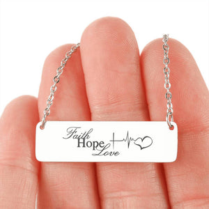 Faith Hope Love Horizontal Bar Necklace 2
