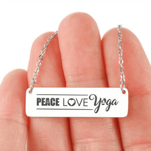 Peace Love Yoga Horizontal Bar Necklace