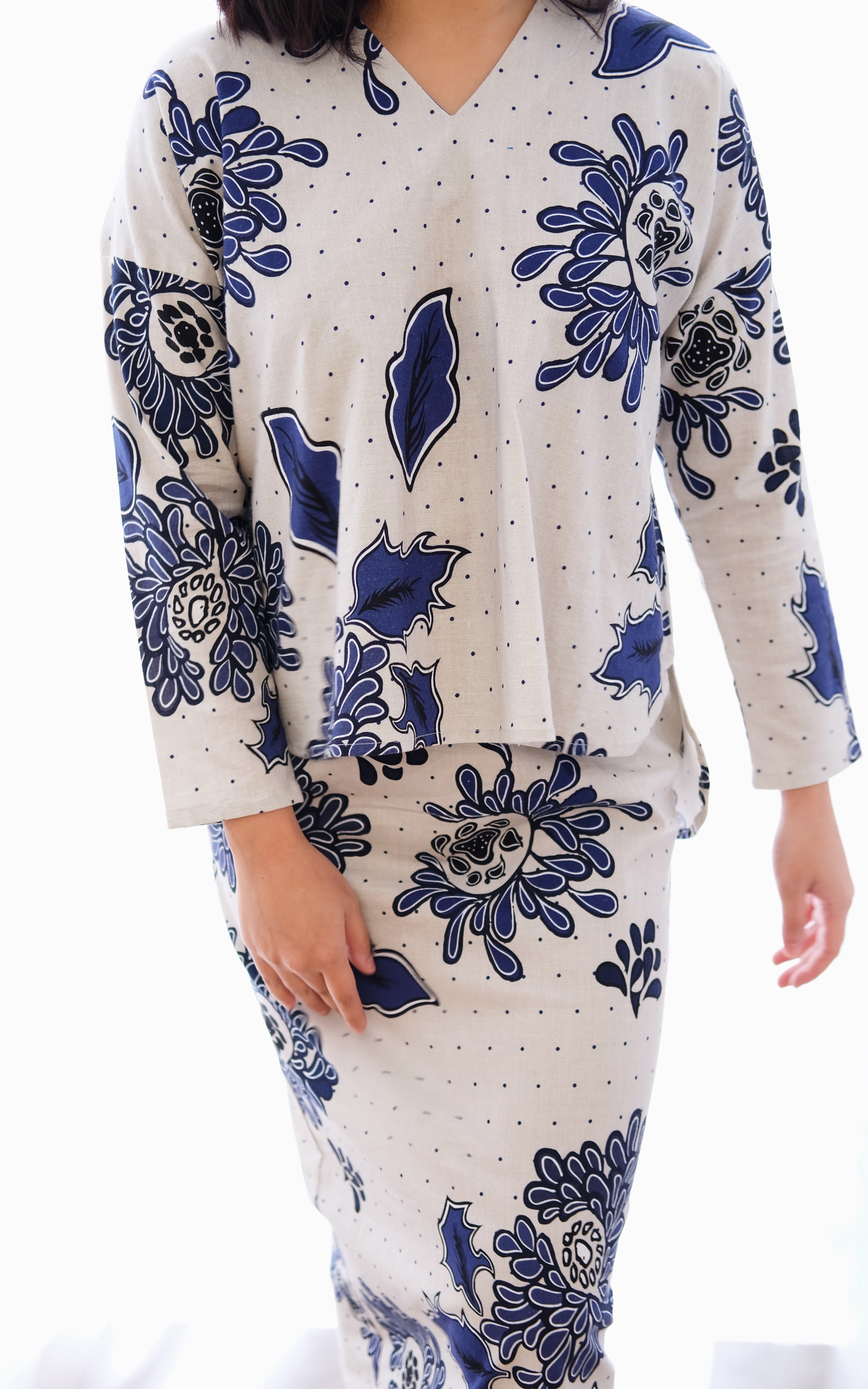 Blue Batik V-Neck Kurung