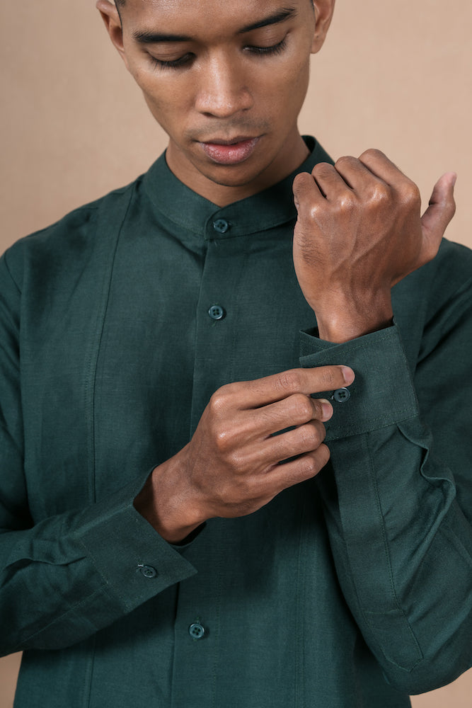 Menswear Linen Forest Green