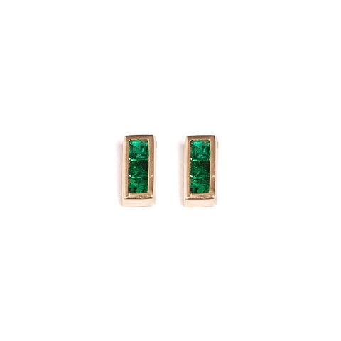 Emerald Rectangle Studs